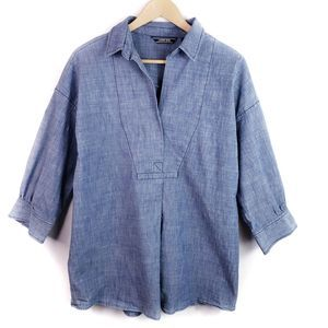 Lands End Chambray Popover Blouse Size 14